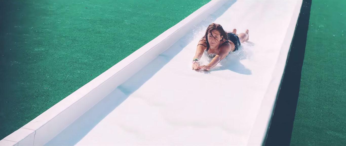girl coming headfirst down waterslide hyera adventure